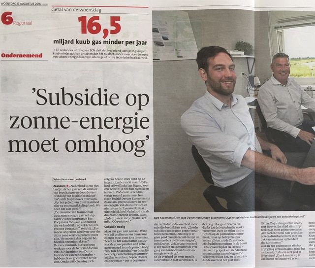 Devcon Ecosystems in het Noord-Hollands dagblad